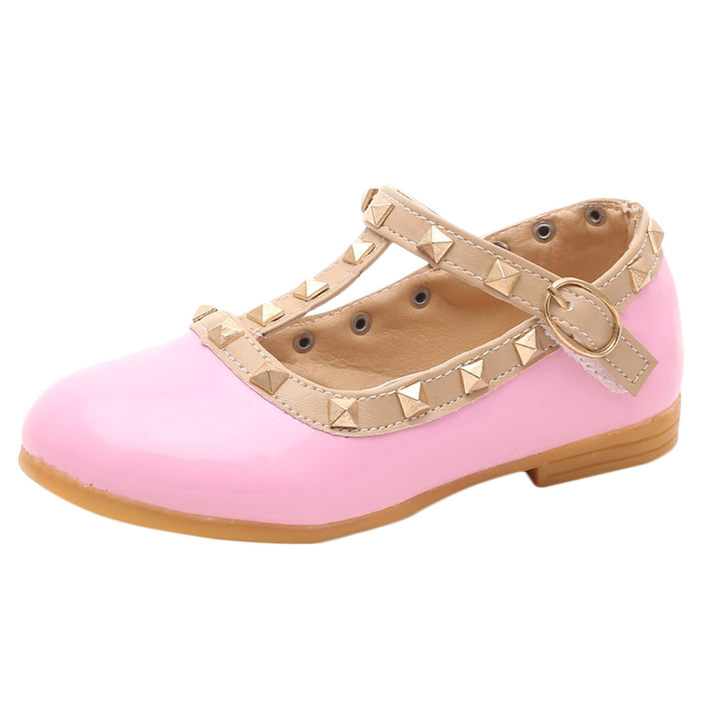 New-Fashion-Leather-Girls-kids-Rivets-Flat-Dance-Shoes-Sneakers-Flat-Shoes-GT