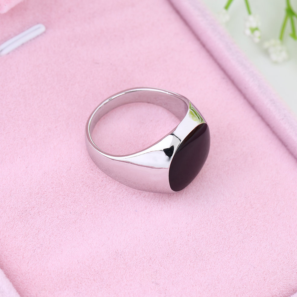 Non-Fade Stainless 18K Silver Plated Black Onyx Stone Engagement ...