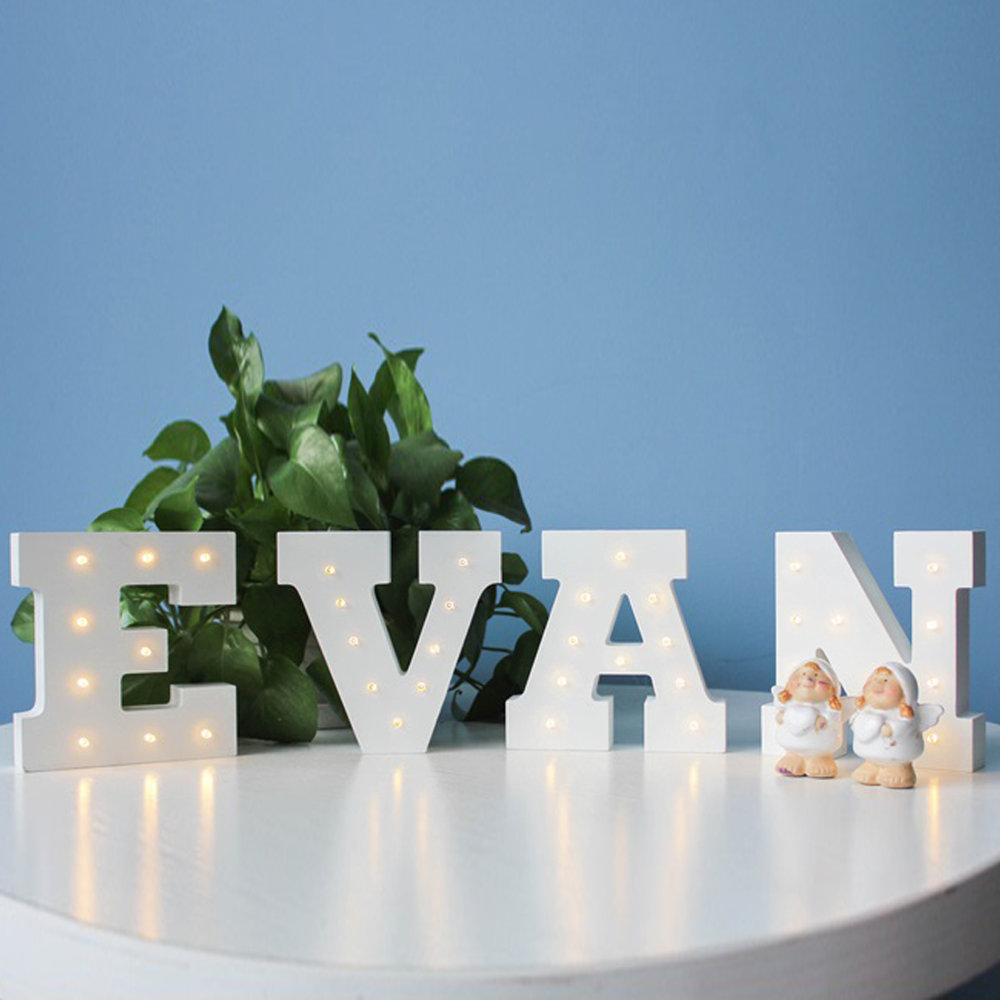 Wall Hanging Night Light : Wooden 26 Letters LED Night Light Festival Lights Party Lamp Wall Hanging SM eBay