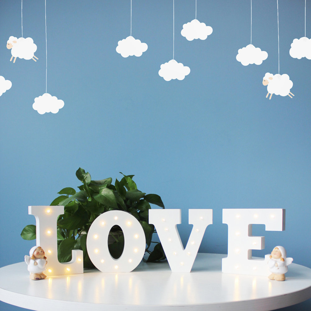 Wooden 26 Letters LED Night Light Festival Lights Party Lamp Wall Hanging SM eBay