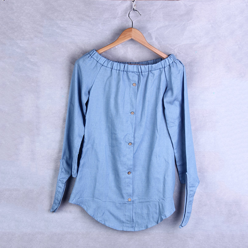 New-Ladies-Classic-Off-Shoulder-Button-Denim-Pullover-Tops-Shirt-Dress-OE