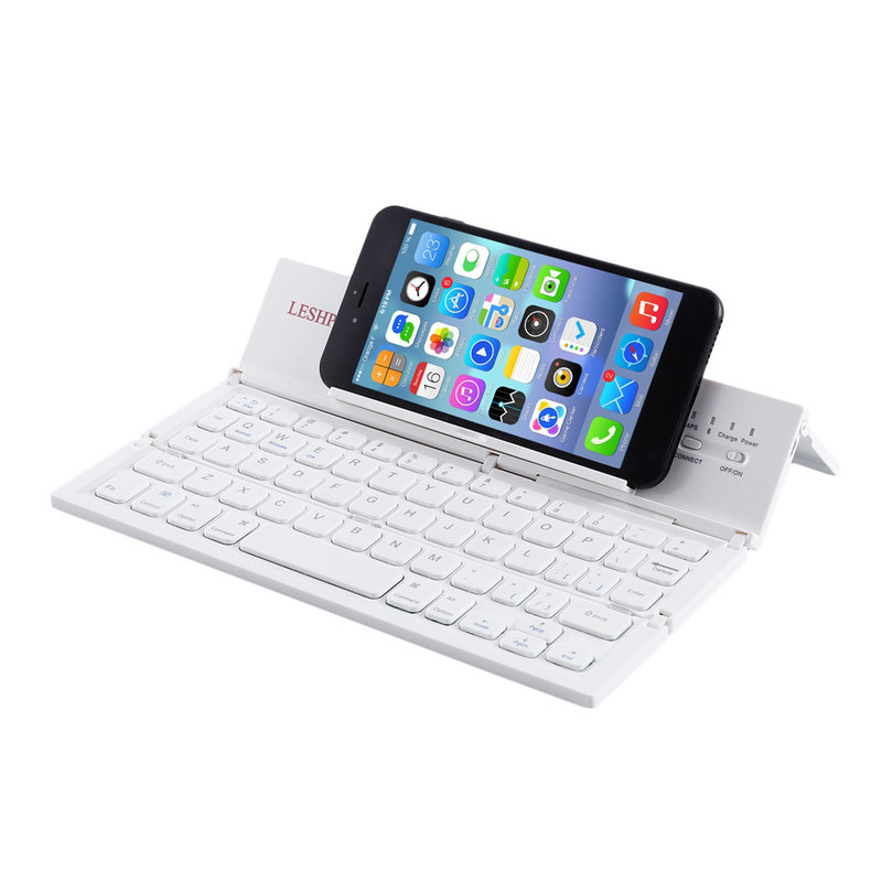 Portable Screen With Keyboard : Leshp portable bluetooth keyboard folding phones tablet