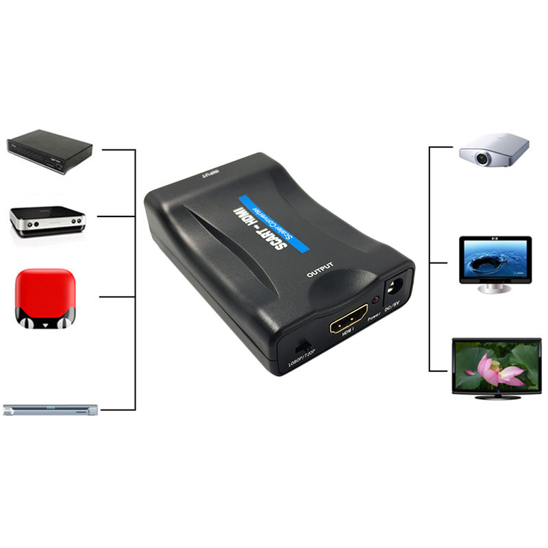 1080p scart to hdmi video audio converter adapter for hd tv dvd for sky box ib ebay. Black Bedroom Furniture Sets. Home Design Ideas