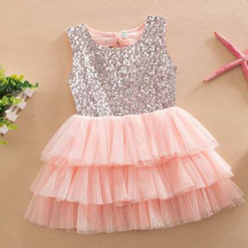 Baby Girl Formal Party Dresses Sequins Dress Bow Lace