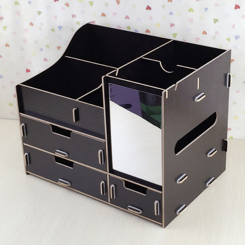 Lovely Wooden Oversized Storage Box Dressing Table Mirror Surface DIY Tray AU