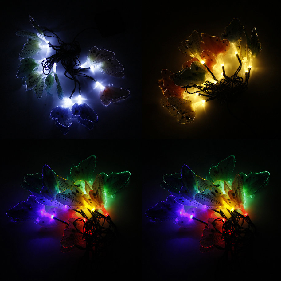 10led solar powered butterfly fiber optic fairy string. Black Bedroom Furniture Sets. Home Design Ideas
