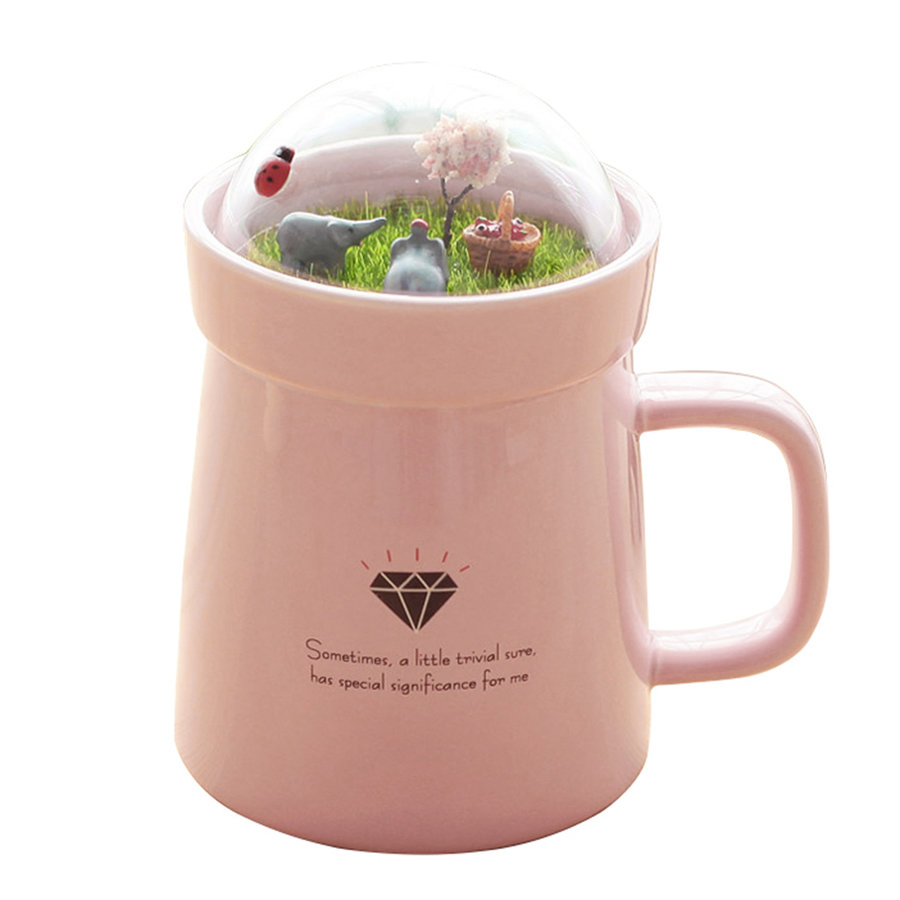 Creative micro landscape ceramic cup lovely big belly mug for Mug isotherme micro ondable