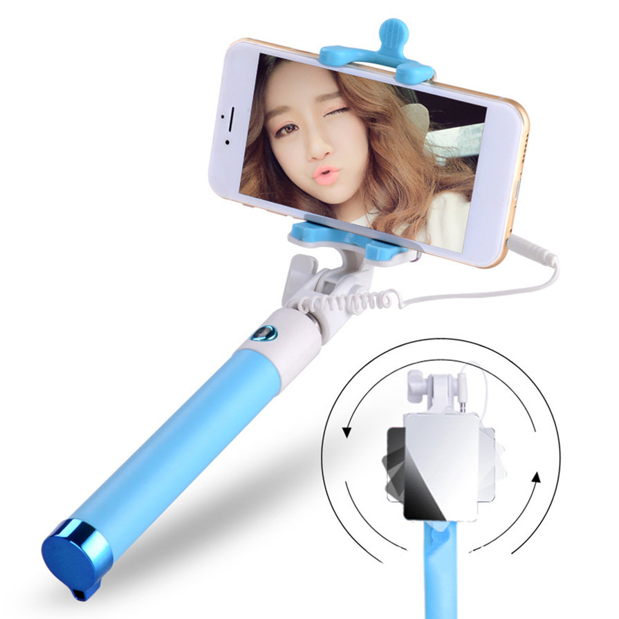 extendable selfie stick monopod tripod for phone wired selfy with mirror xp ebay. Black Bedroom Furniture Sets. Home Design Ideas