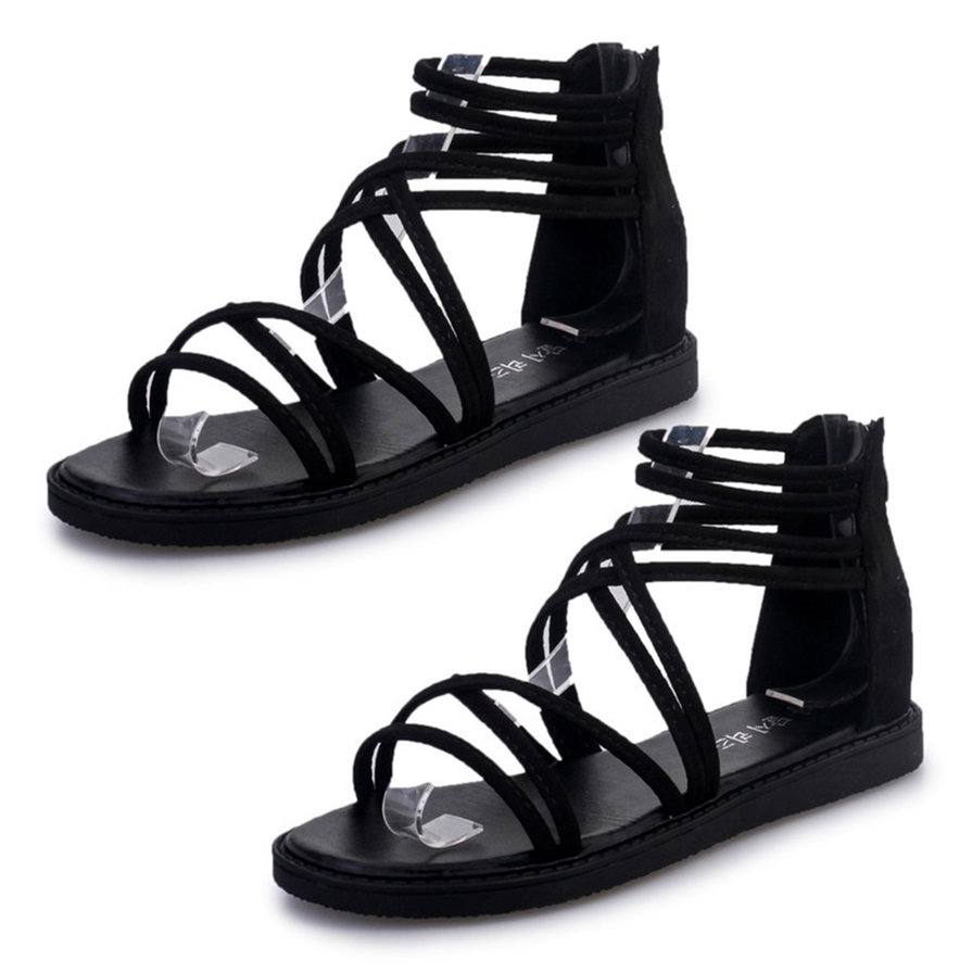 Women Fashionable Style Sandals New Flat Heel Ankle Strap Peep Toe Shoes Vk
