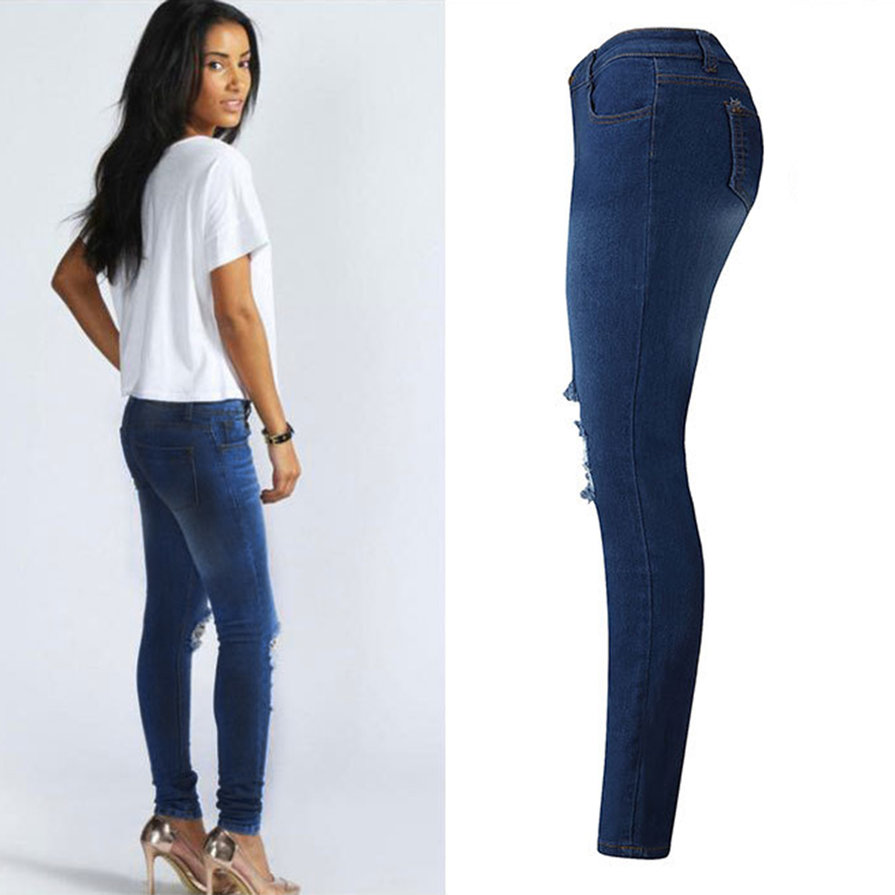 Simple Women Fashion Side Lace Jeans Hollow Out Skinny Denim Jeans Woman Pencil Pants Patchwork Trousers For