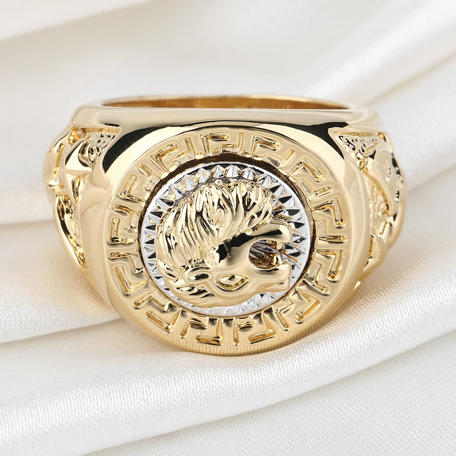 Fashion-Mens-19mm-Noble-Band-Ring-Cool-Lion-Head-18K-Yellow-Gold-Plated-ESP