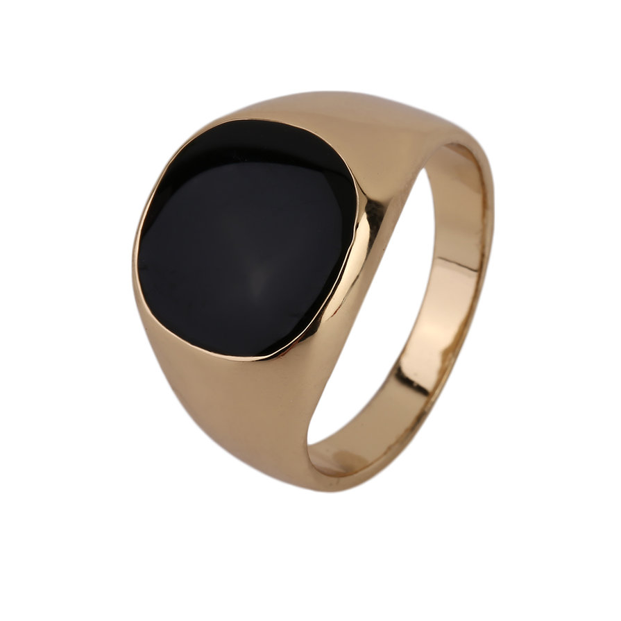 Fashion Steel Metal Ring 18K Gold Plated Black yx Stone Engagement Wedding