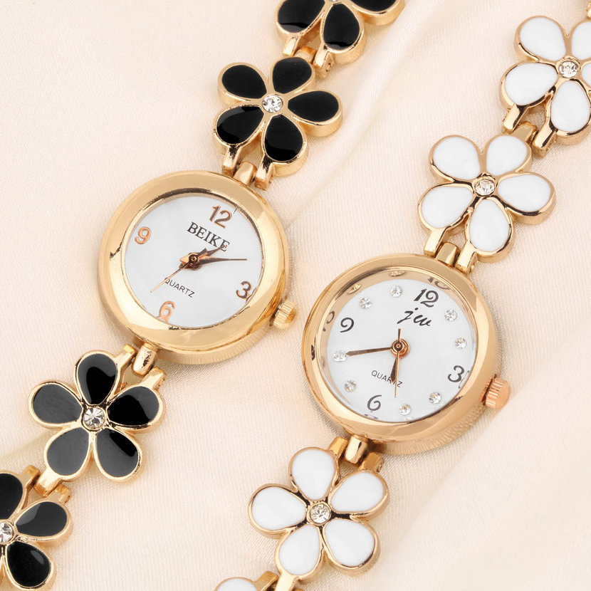 Korean Fashion Daisies Flower Rose Gold Bracelet Wrist Watch Women ...