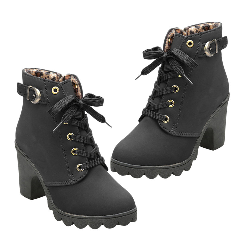 Girl Women High Top Heel Lace Up Buckle Ankle Boots Winter Pumps ...