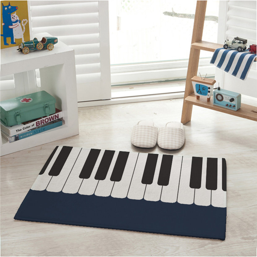 Piano carpet bedroom bedside living room black and white piano kids pad rug xc for Black and white bedroom carpet