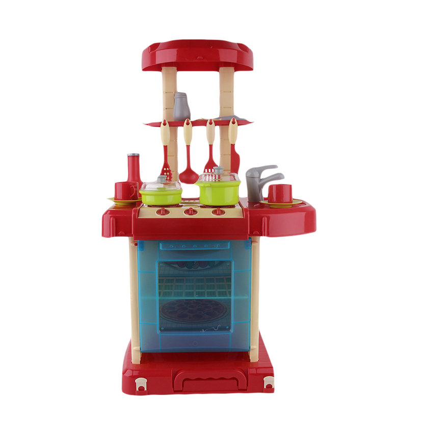 Kids play toy girl baby toy kitchen cooking simulation for Toy kitchen table