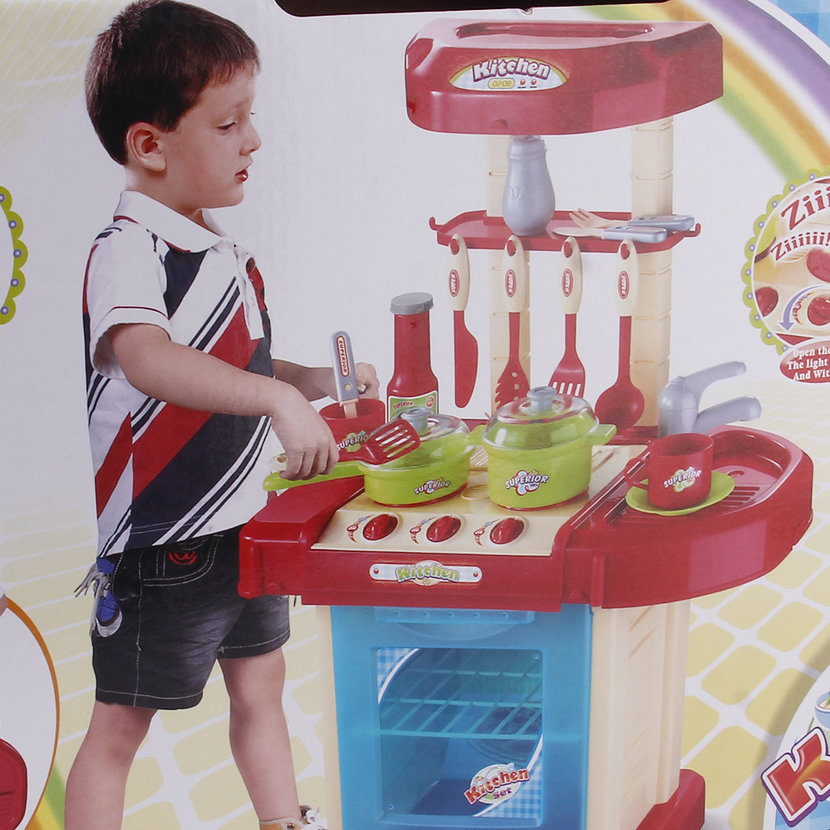 Kids play toy girl baby toy kitchen cooking simulation for Girls kids kitchen