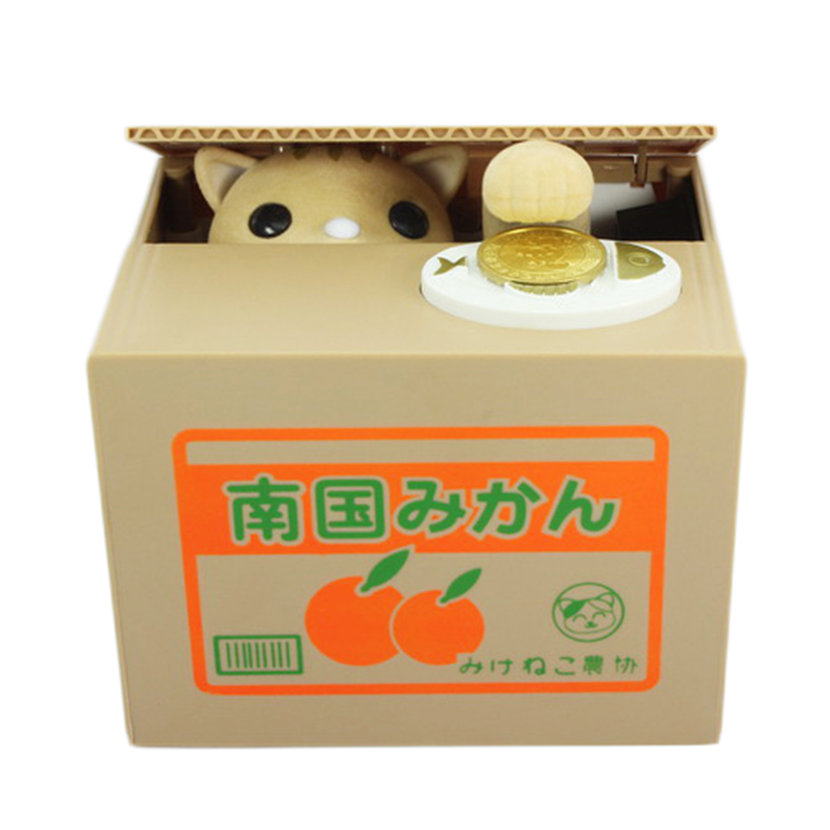 Piggy bank cat steal money coin saving box pot case battery operated gift lm ebay - Coin stealing cat piggy bank ...