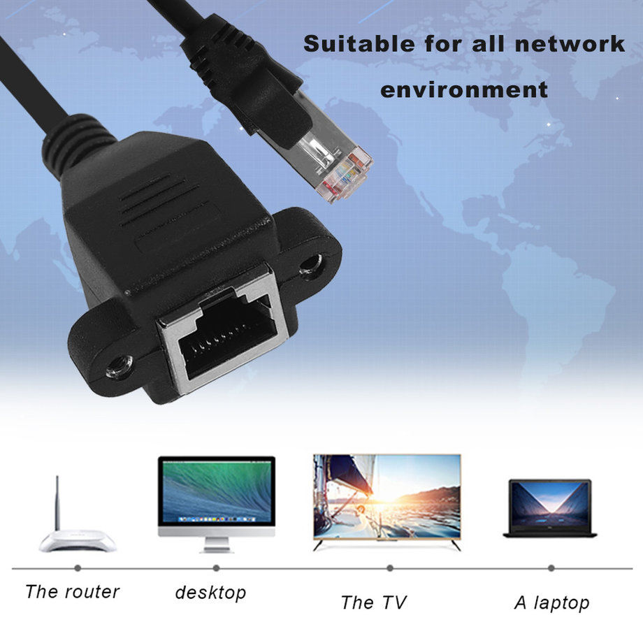 Male To Female Rj45 Ethernet Lan Network Extension Cable For Laptop For Pc Ok Ebay