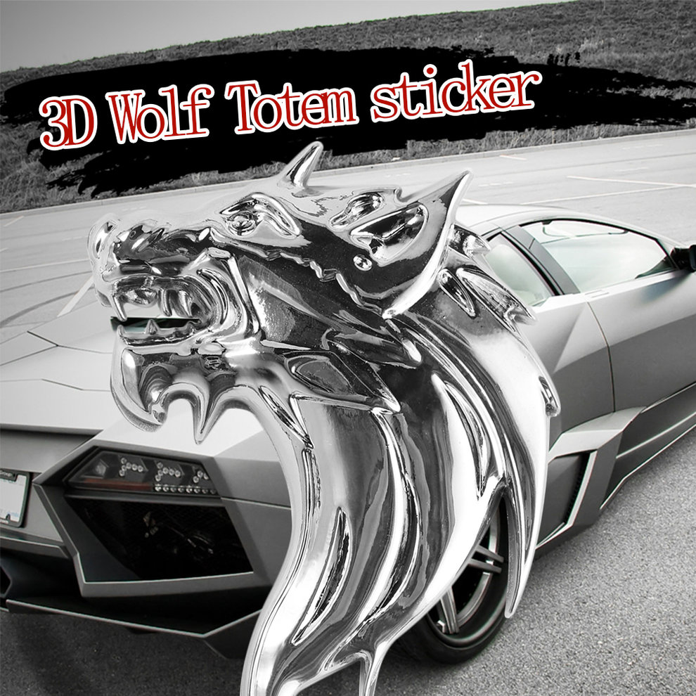 new wolf head 3d metal auto car grill badge logo totem grille emblem sticker dp ebay. Black Bedroom Furniture Sets. Home Design Ideas