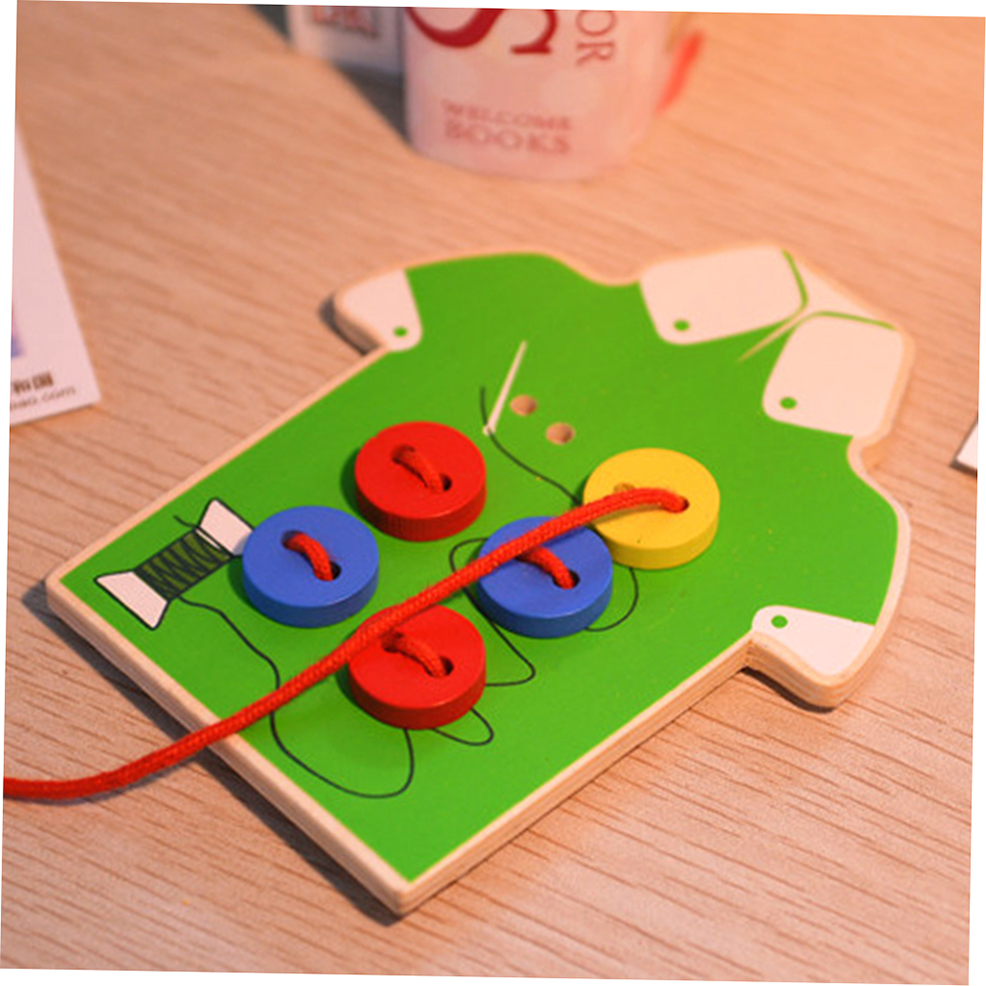 Creative Wooden Children Sewing On Buttons Toys Kids Early ...