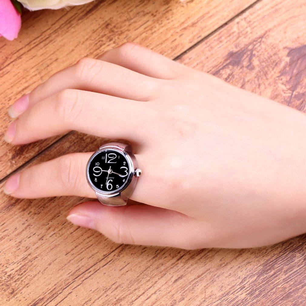 Unique Fashion Steel Round Elastic Quartz Finger Ring Watch Lady ...
