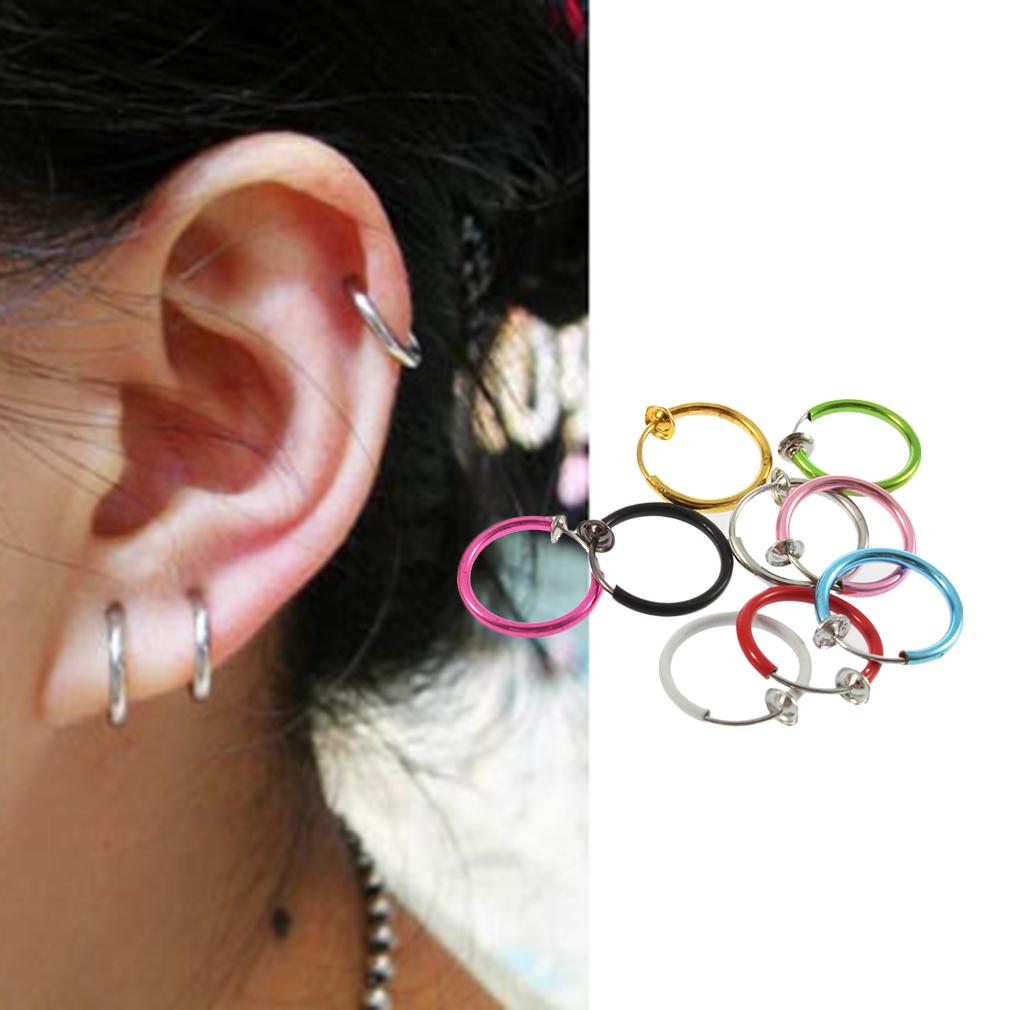 Clip On Fake Hoop Boby Nose Lip Ear Ring Stud Earrings Punk Goth