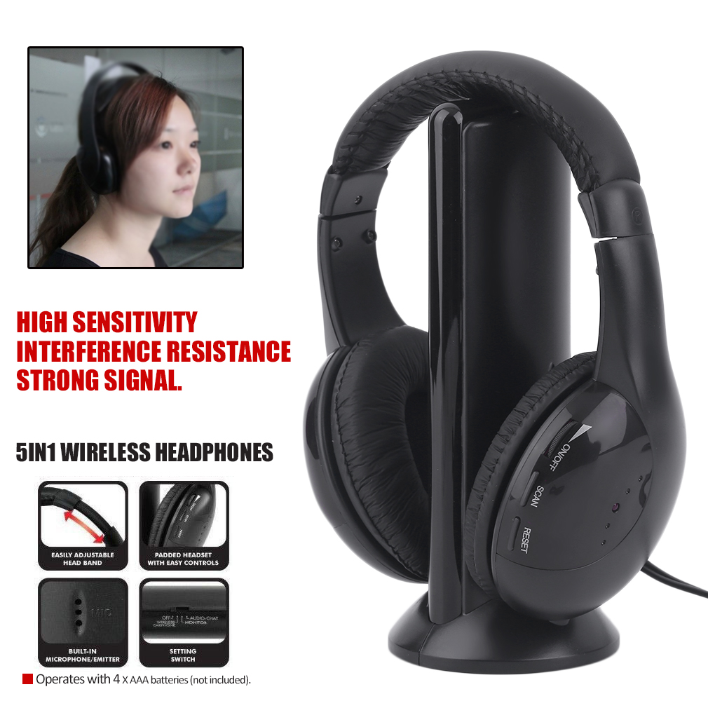 5 in 1 wireless kabellos fn rf kopfh rer headset mit. Black Bedroom Furniture Sets. Home Design Ideas
