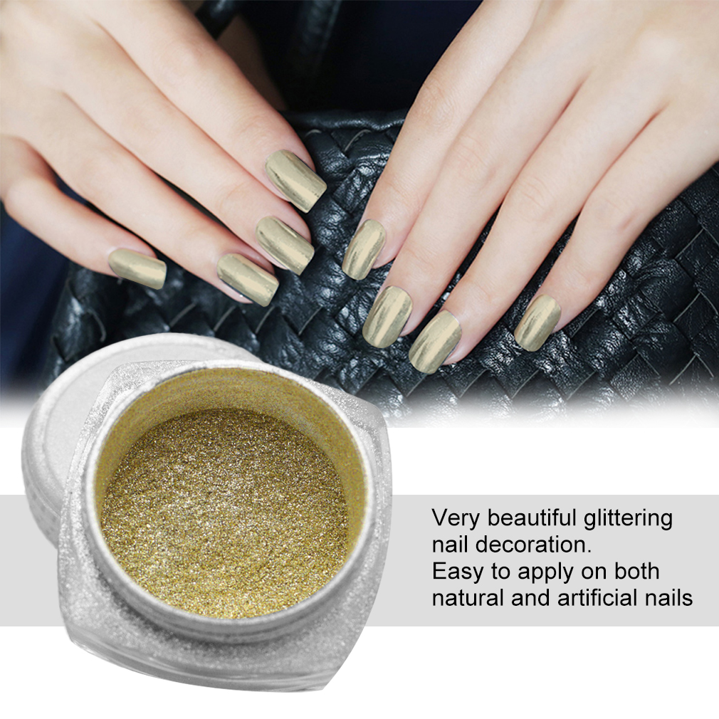 Details about Gold Silver Nails Mirror Powder Nail Art Glitters DIY Ladies Beauty Makeup SG