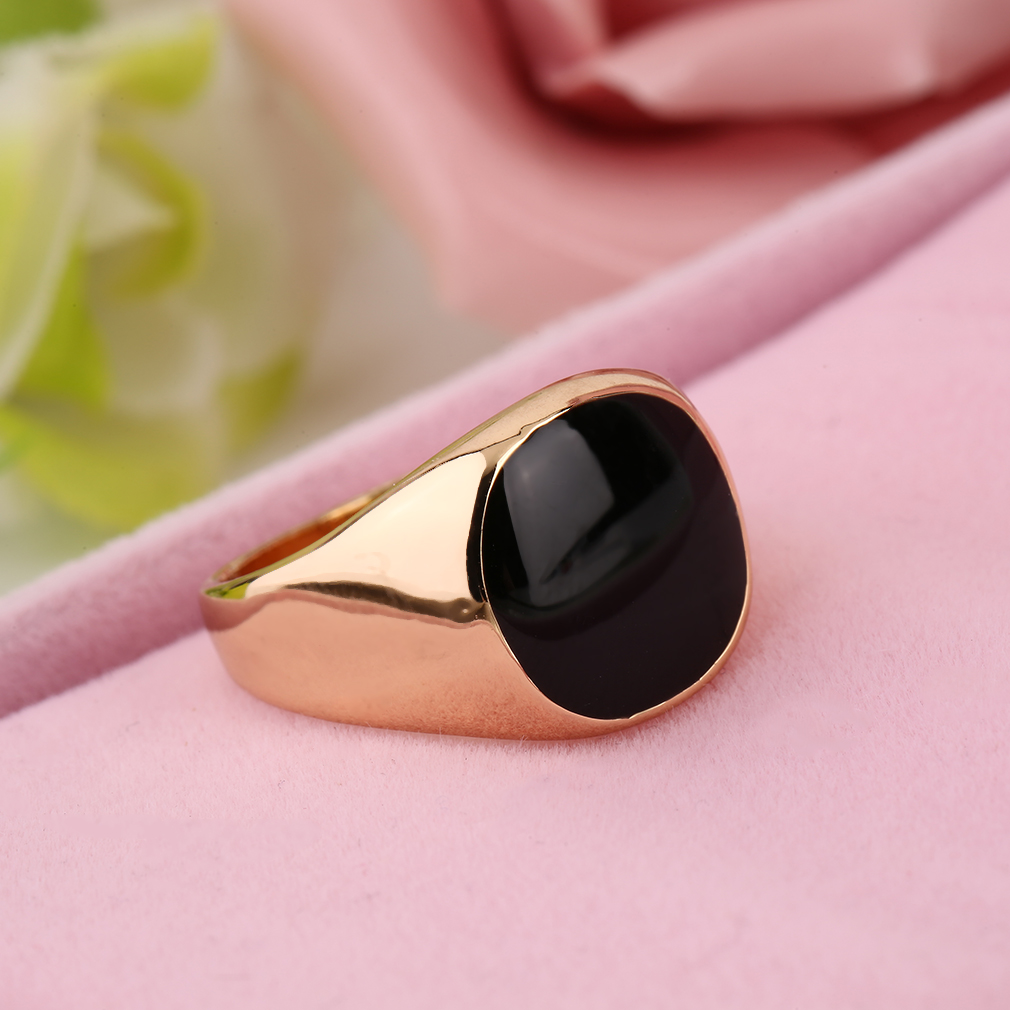 Steel Metal Ring 18K Gold Plated Black Onyx Stone Engagement Wedding ...
