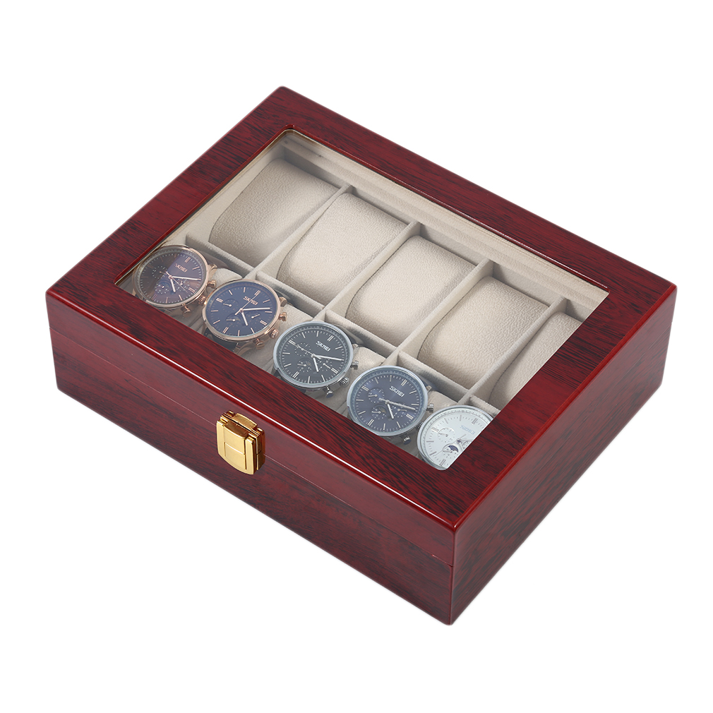 Practical 10 Grids Wooden Watch Box Jewelry Display ...