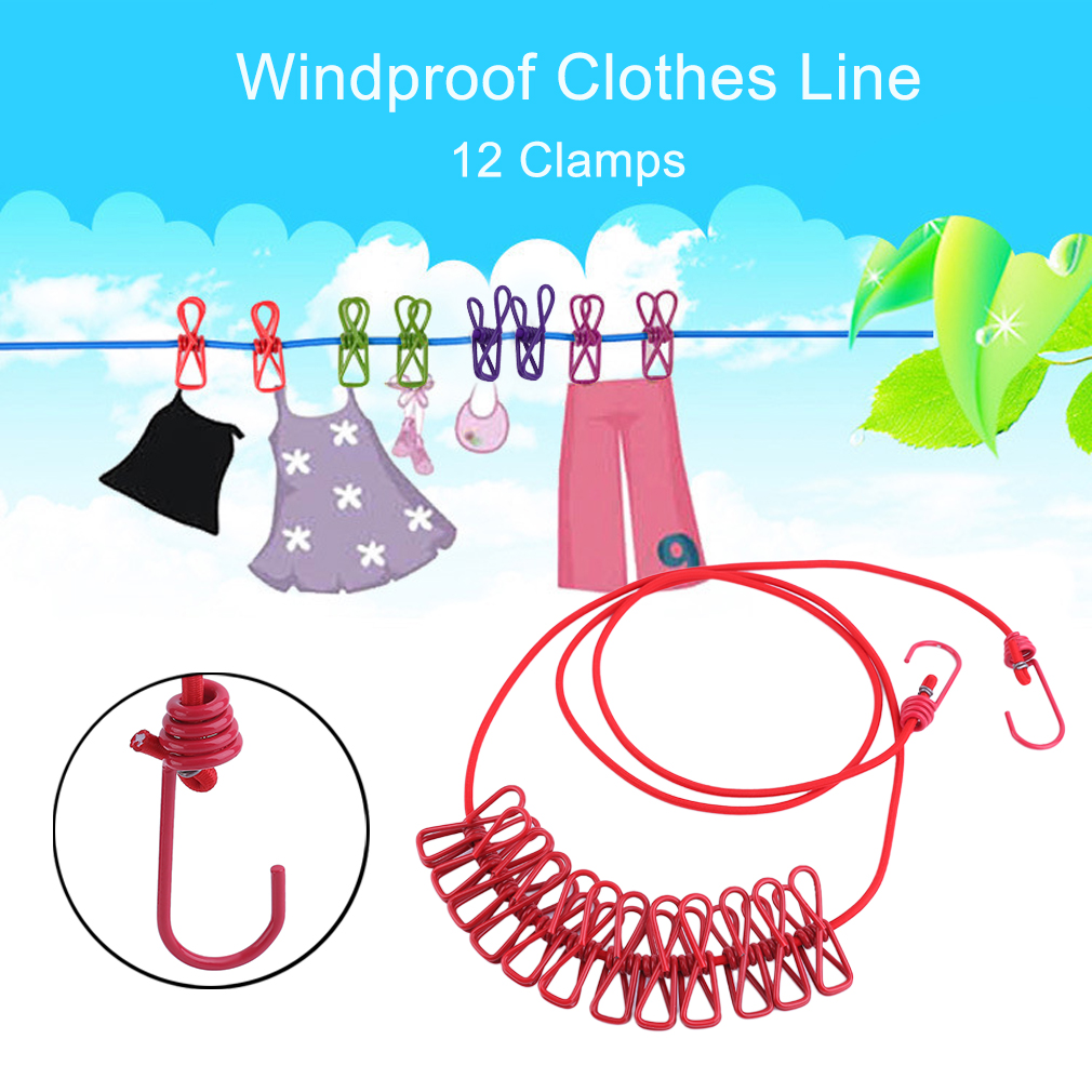 Portable Outdoor Travel Windproof Clothes Line 12 Clip Socks Holder Hanging  EG