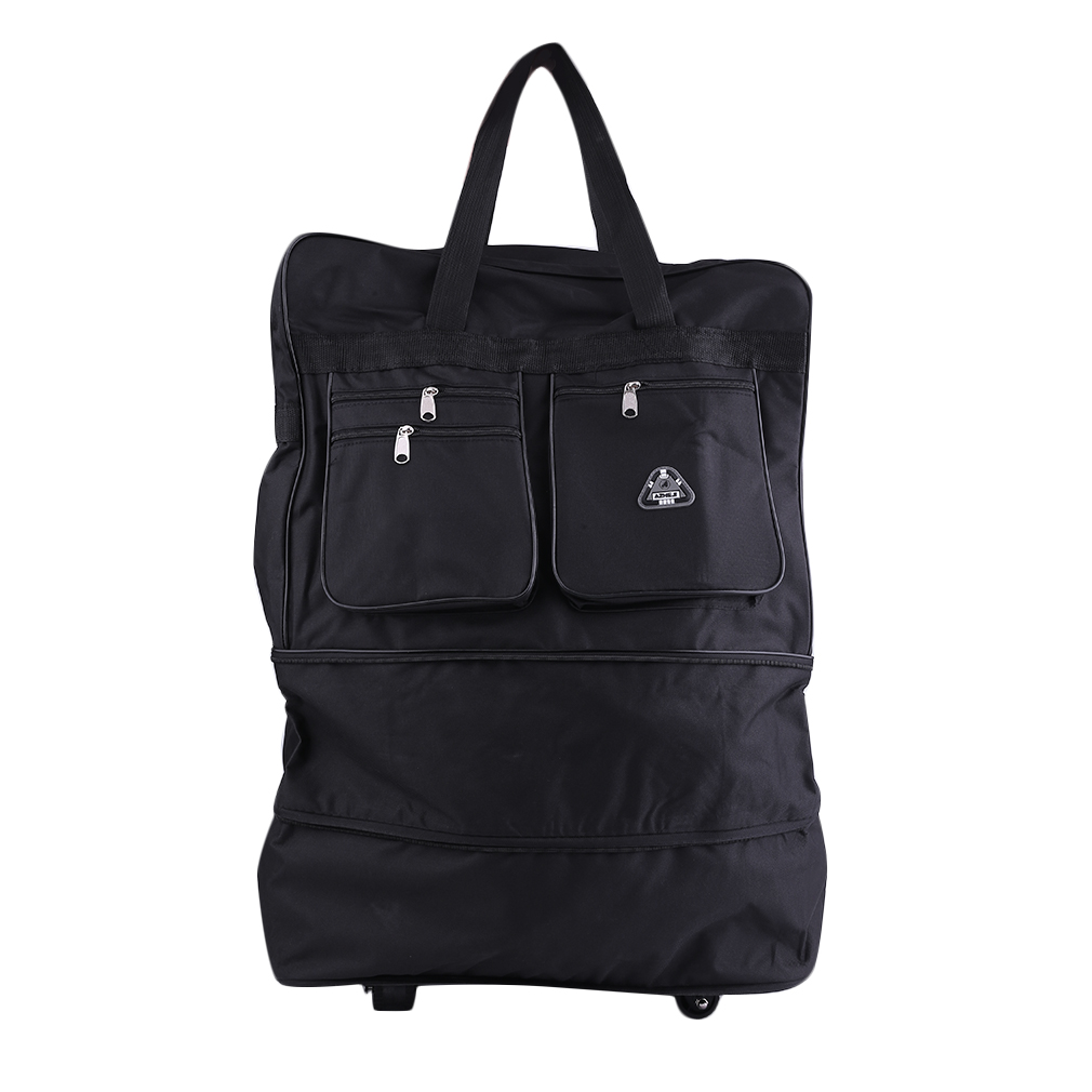 30 black large rolling wheeled duffel bag spinner suitcase duffle bag luggage g ebay. Black Bedroom Furniture Sets. Home Design Ideas