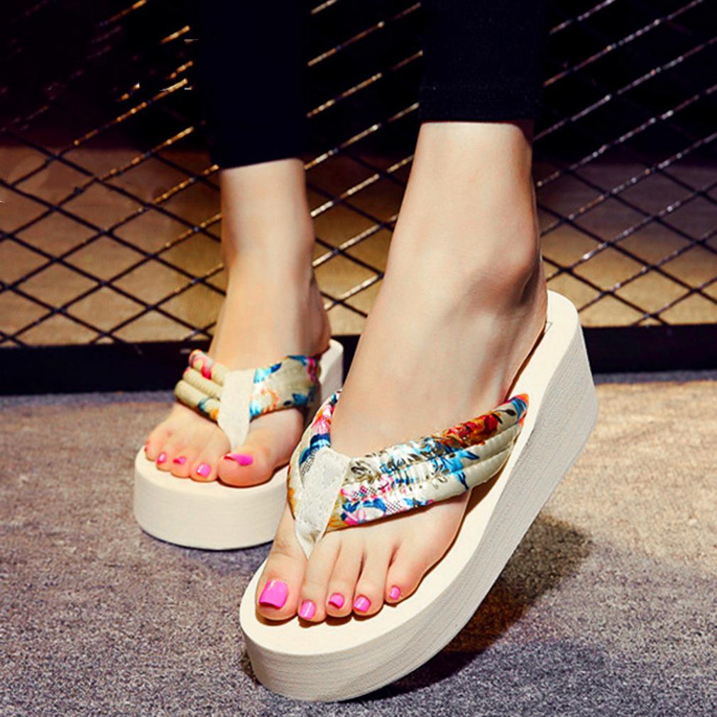 6597bfc1259 Cotton Belt Sandals Summer Beach Outdoor Wedge Flip Flops Women Casual  Comfortable Slipper Non-Slide Shoes