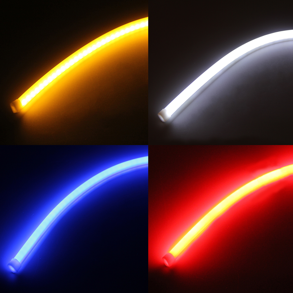 2pcs 60cm Flexible Soft Tube Car LED Strip Turn Signal Running Lights Lamps  ZY | EBay