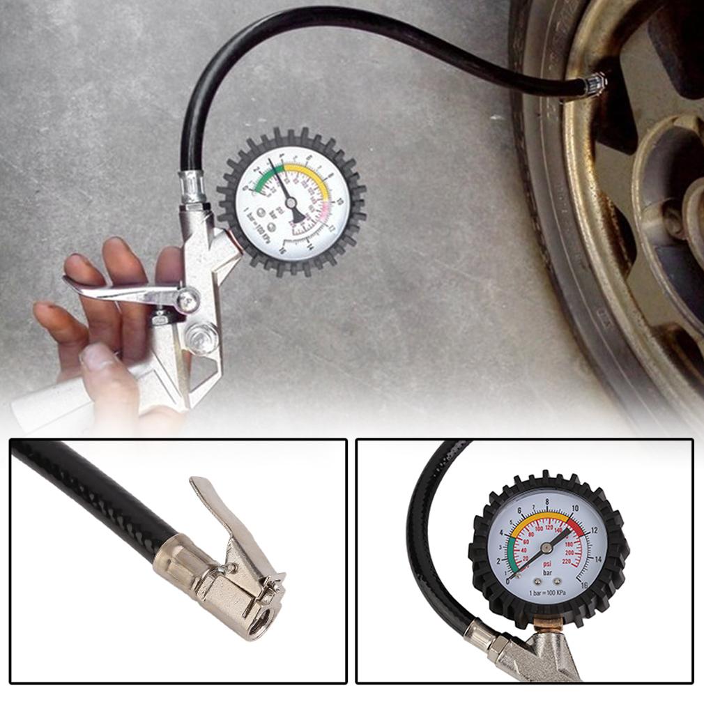 220 psi lock on tire inflator with air pressure gauge pistol chuck flexible hose ebay. Black Bedroom Furniture Sets. Home Design Ideas