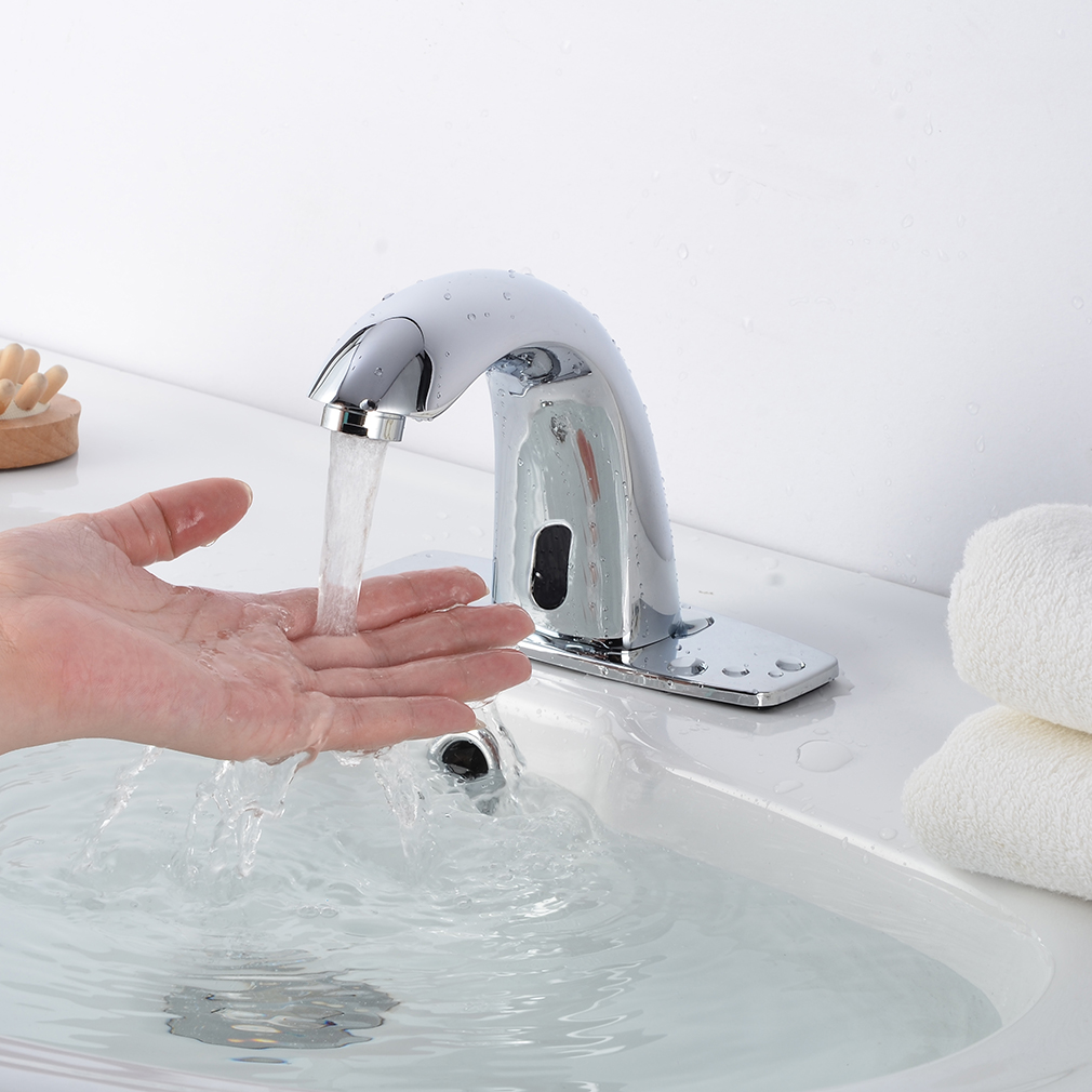 Electronic Automatic Sensor Touchless Faucet Hands Free Bathroom Vessel Sink Tap Ebay