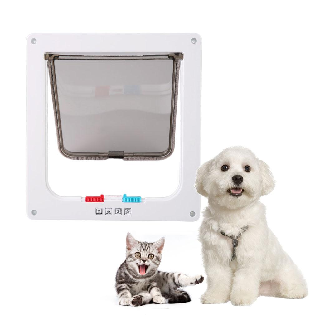 Small pet animal 4 way plastic lockable door safe flap gate l white zk1440403 11street - Safe pet dog doors ...