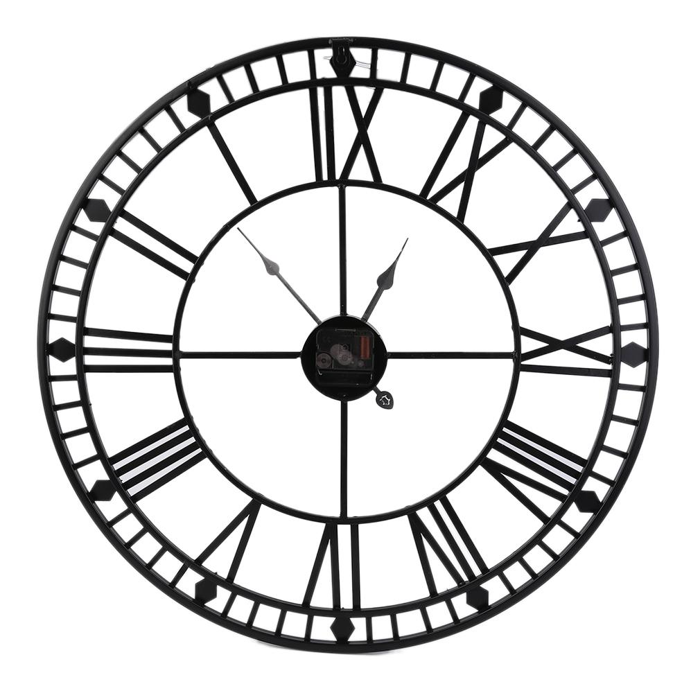 XL Wanduhr Groß Uhr Rathausuhr Schwarz 60cm Metall RETRO