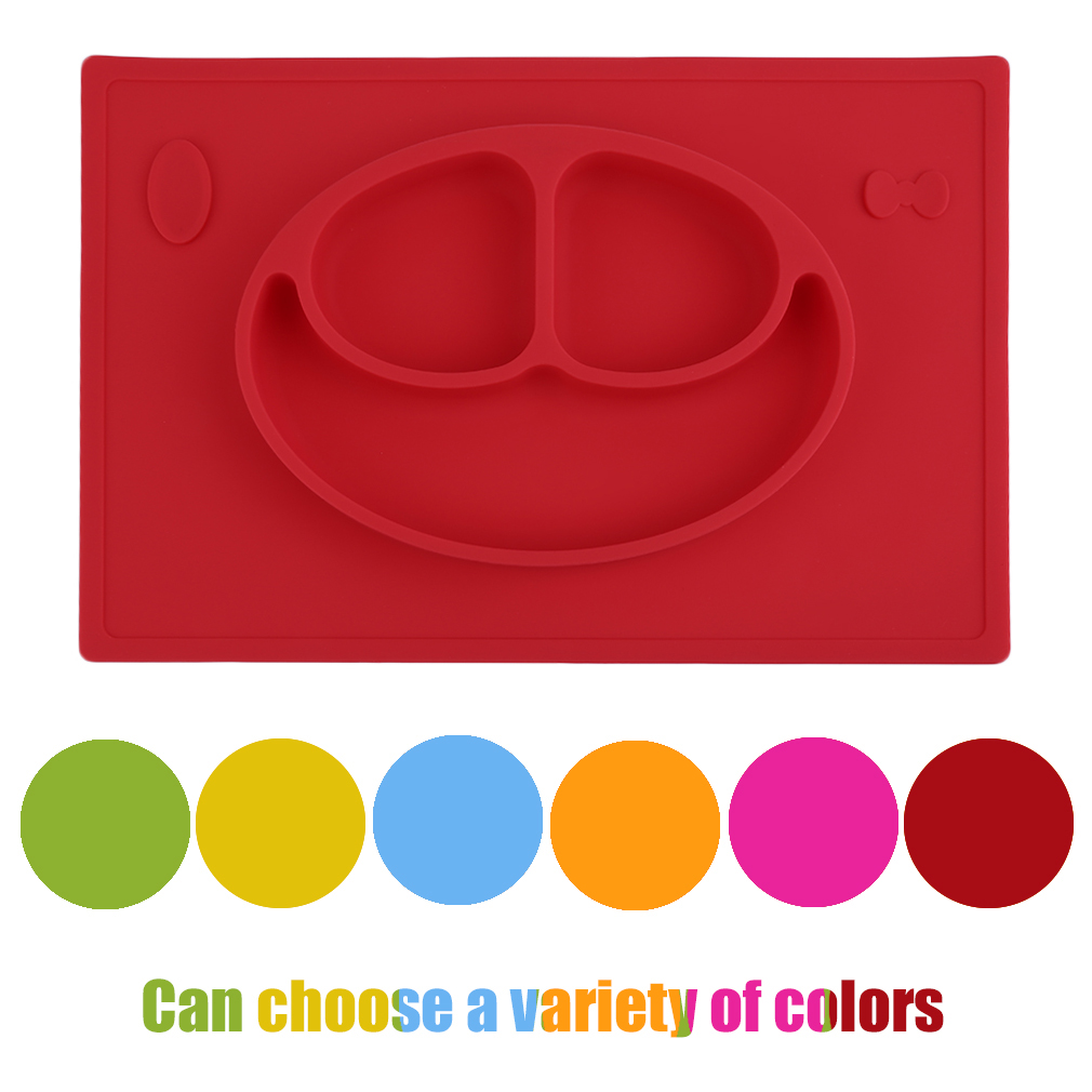 Silicone Smile Face Divided Plate Dish For Kids Toddler