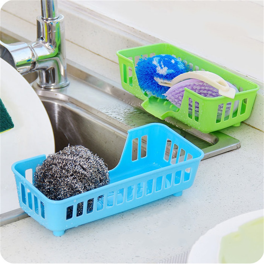 Plastic Kitchen Sink Storage Basket Dish Sponge Soap Drain Shelf ...