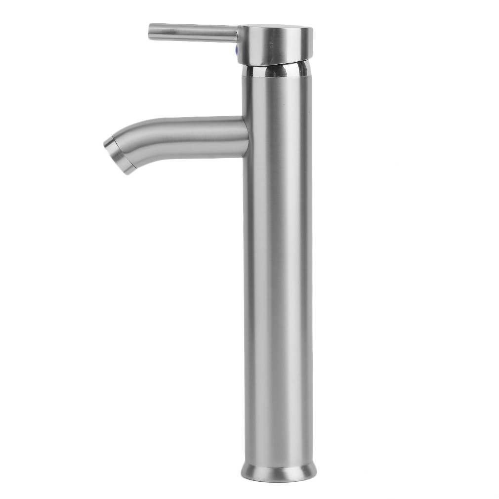bathroom lavatory vessel sink faucet brushed nickel single one handle