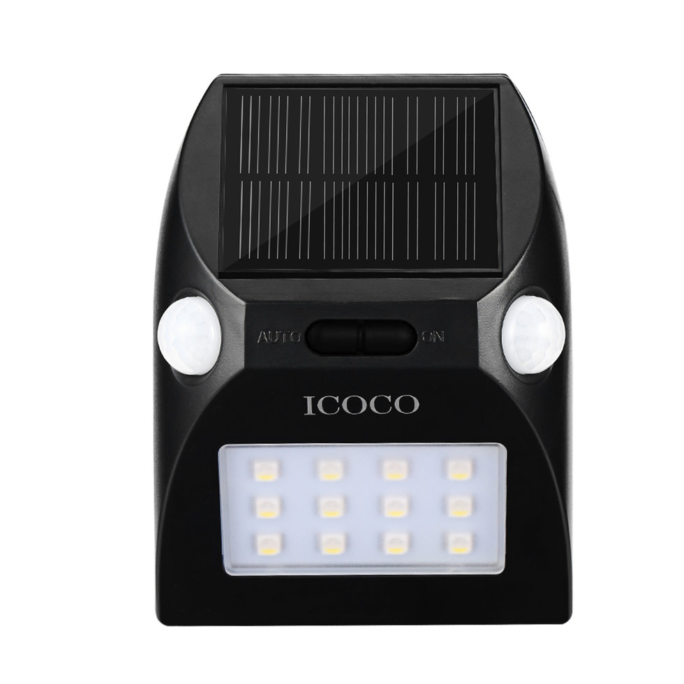 ICOCO 12LED Outdoor Motion Sensor Solar Lights Wide Angle Color Adjustable NN