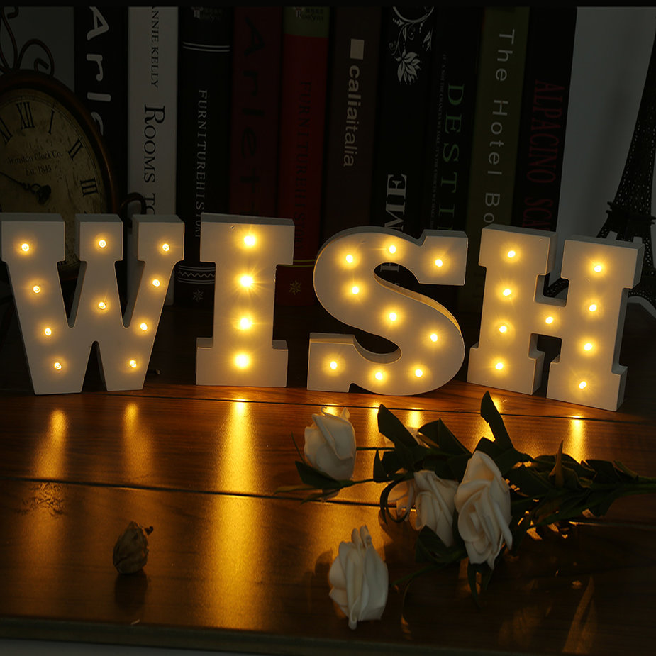 Lights Hanging On Wall : Wooden 26 Letters LED Night Light Festival Lights Party Lamp Wall Hanging XD eBay