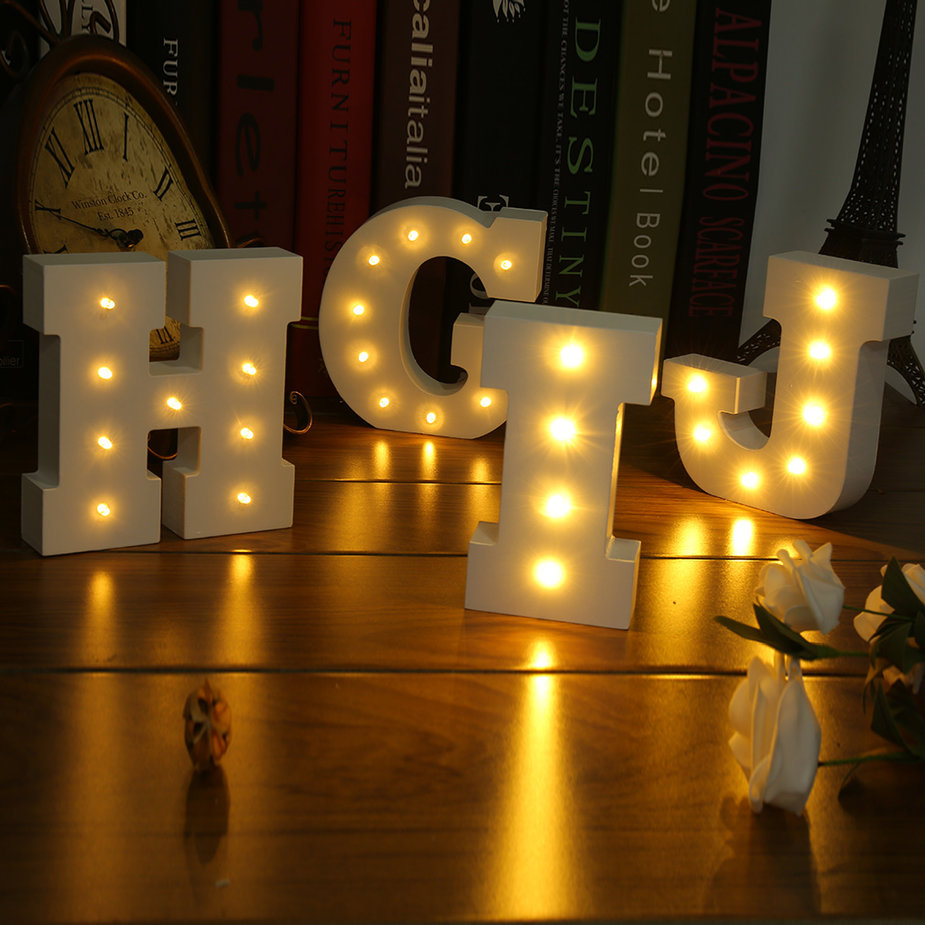 Wall Hanging Night Lights : Wooden 26 Letters LED Night Light Festival Lights Party Lamp Wall Hanging XD eBay