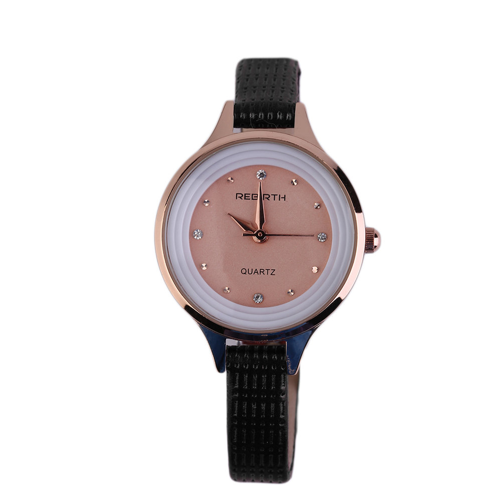 Rebirth Fashionable Women Casual Quartz Waterproof Watch Unique D Island Wrinkle Reborn Leather Re012b V