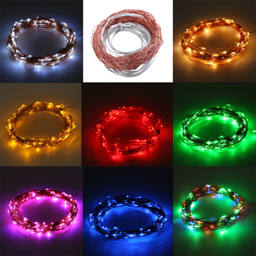 Solar Powered Waterproof 10m 100led Copper Wire Outdoor String Fairy Wiring Up Lights 20m 200led Light By The Sun No Electric Required Suitable For Indoor Or Using