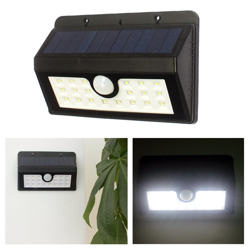 Solar powered pir motion sensor led wall light outdoor for Katzennetz balkon mit solar led garden lights