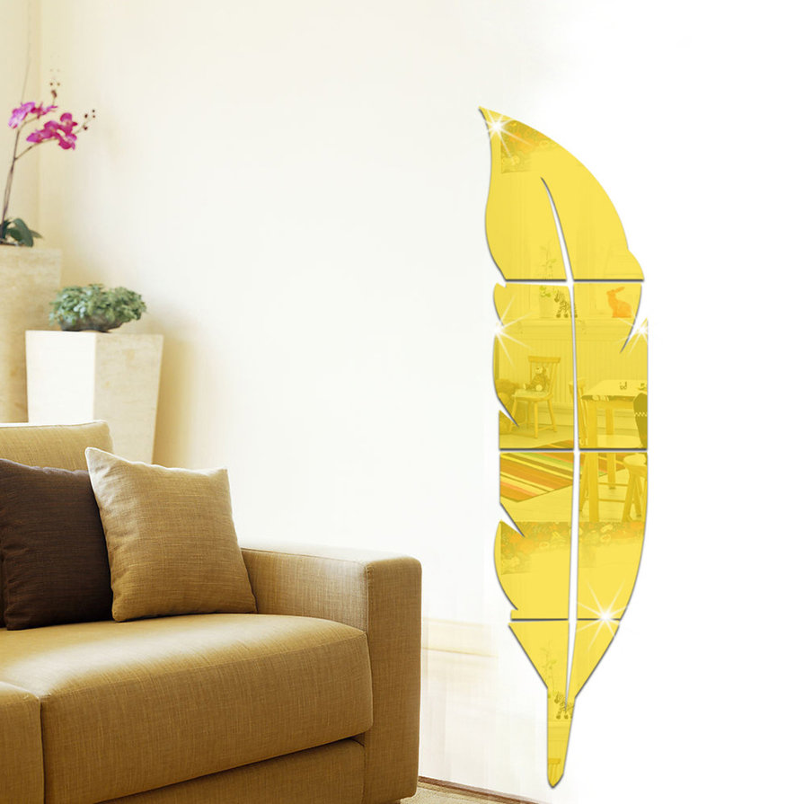 Beautiful Feather Shape Wall Sticker Home 3D Mirror Wall Decorative ...