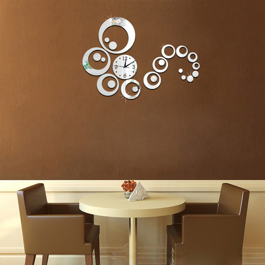 Modern diy 3d mirror art wall sticker clock ca022 home for Diy 3d art